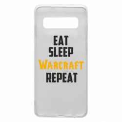 Чехол для Samsung S10 Eat sleep Warcraft repeat