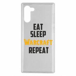 Чехол для Samsung Note 10 Eat sleep Warcraft repeat