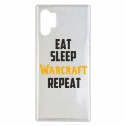 Чехол для Samsung Note 10 Plus Eat sleep Warcraft repeat