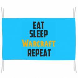 Флаг Eat sleep Warcraft repeat