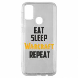 Чехол для Samsung M30s Eat sleep Warcraft repeat