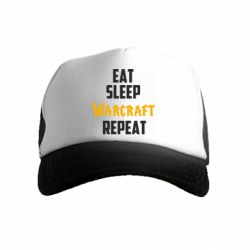 Детская кепка-тракер Eat sleep Warcraft repeat