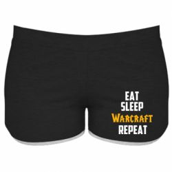 Женские шорты Eat sleep Warcraft repeat