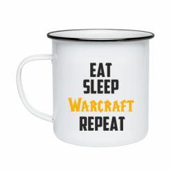 Кружка эмалированная Eat sleep Warcraft repeat