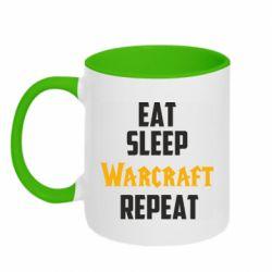 Кружка двухцветная 320ml Eat sleep Warcraft repeat