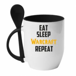 Кружка с керамической ложкой Eat sleep Warcraft repeat