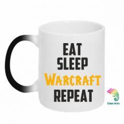 Кружка-хамелеон Eat sleep Warcraft repeat