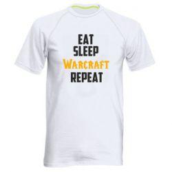 Мужская спортивная футболка Eat sleep Warcraft repeat