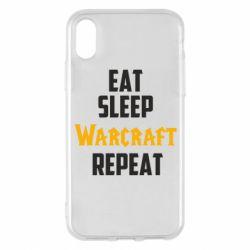 Чехол для iPhone X/Xs Eat sleep Warcraft repeat