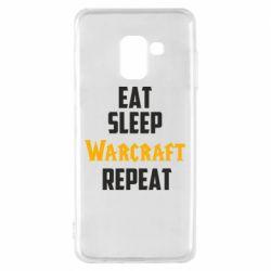 Чехол для Samsung A8 2018 Eat sleep Warcraft repeat