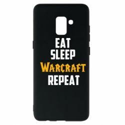 Чехол для Samsung A8+ 2018 Eat sleep Warcraft repeat