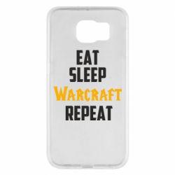 Чехол для Samsung S6 Eat sleep Warcraft repeat