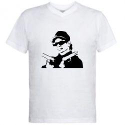 Мужская футболка  с V-образным вырезом Eazy-E Gunz - FatLine