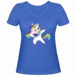 Жіноча футболка з V-подібним вирізом Єдиноріг робить деббінг
