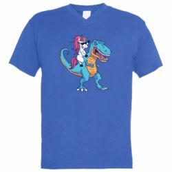 Чоловіча футболка з V-подібним вирізом Єдиноріг і динозавр