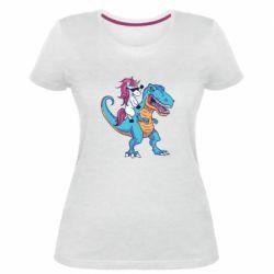 Жіноча стрейчева футболка Єдиноріг і динозавр