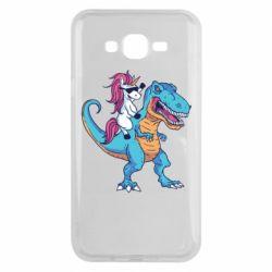 Чохол для Samsung J7 2015 Єдиноріг і динозавр
