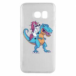 Чохол для Samsung S6 EDGE Єдиноріг і динозавр
