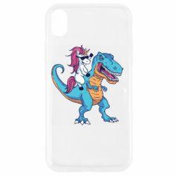 Чохол для iPhone XR Єдиноріг і динозавр