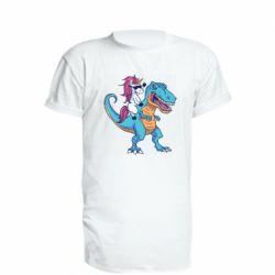 Подовжена футболка Єдиноріг і динозавр