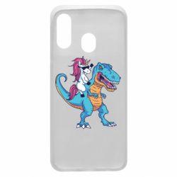 Чохол для Samsung A40 Єдиноріг і динозавр