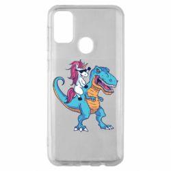 Чохол для Samsung M30s Єдиноріг і динозавр