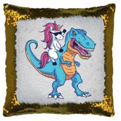 Подушка-хамелеон Єдиноріг і динозавр