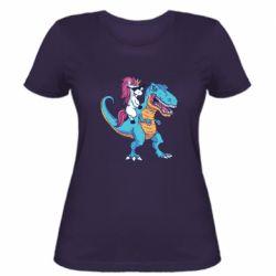 Жіноча футболка Єдиноріг і динозавр
