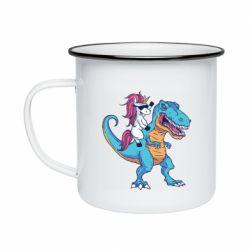 Кружка емальована Єдиноріг і динозавр