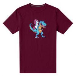 Чоловіча стрейчева футболка Єдиноріг і динозавр