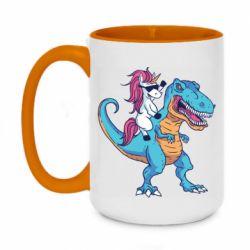Кружка двоколірна 420ml Єдиноріг і динозавр