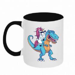 Кружка двоколірна 320ml Єдиноріг і динозавр