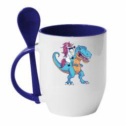 Кружка з керамічною ложкою Єдиноріг і динозавр