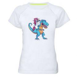 Жіноча спортивна футболка Єдиноріг і динозавр