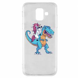 Чохол для Samsung A6 2018 Єдиноріг і динозавр