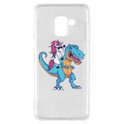Чохол для Samsung A8 2018 Єдиноріг і динозавр