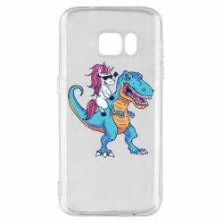 Чохол для Samsung S7 Єдиноріг і динозавр
