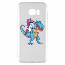 Чохол для Samsung S7 EDGE Єдиноріг і динозавр