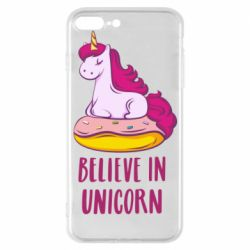 Чехол для iPhone 7 Plus Единорог с пончиком