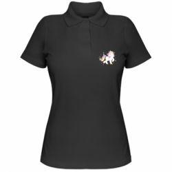 Женская футболка поло Единорог в звёздах