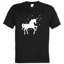 Мужская футболка  с V-образным вырезом Единорог - FatLine