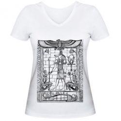 Купить Женская футболка с V-образным вырезом Egyptian Pharaoh, FatLine