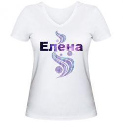 Женская футболка с V-образным вырезом Елена
