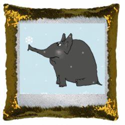Подушка-хамелеон Elephant and snowflakes