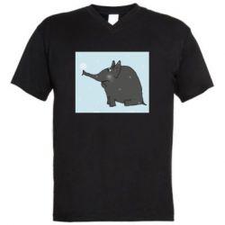 Чоловіча футболка з V-подібним вирізом Elephant and snowflakes