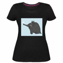 Жіноча стрейчева футболка Elephant and snowflakes