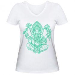 Купить Женская футболка с V-образным вырезом Elephant of India, FatLine
