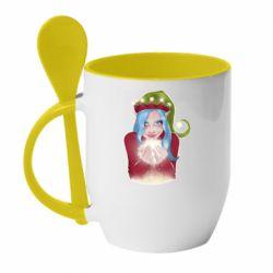 Кружка с керамической ложкой Elf girl