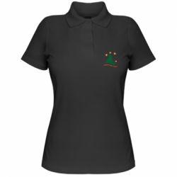 Жіноча футболка поло Ялинка з іскрами