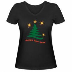 Жіноча футболка з V-подібним вирізом Ялинка з іскрами